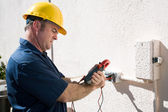 Electrician Checking Voltage — Stock Photo