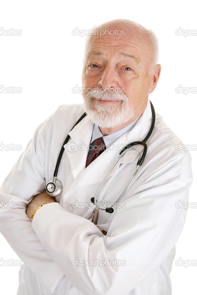 Portrait of a kind, experienced doctor.  Isolated on white.   — Stock Photo #6595025