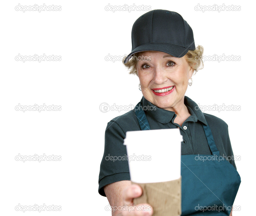 A pretty senior lady serving coffee with a smile.  Isolated with room for text.  Stock Photo #6596602