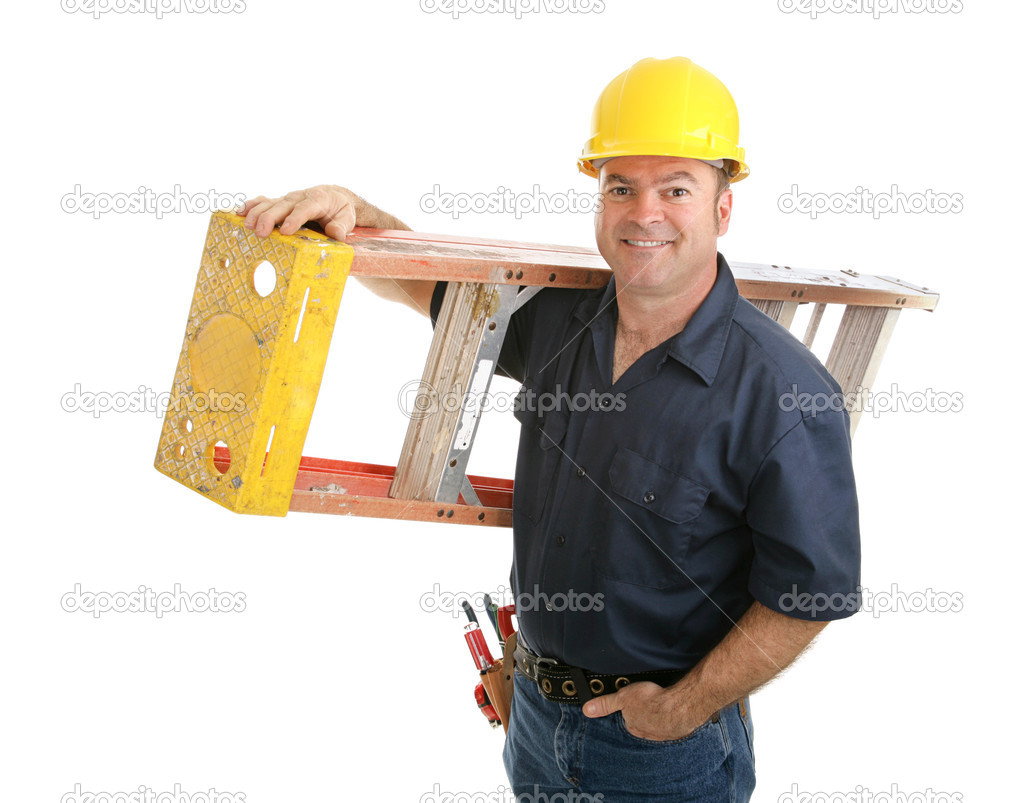 Friendly construction worker carrying ladder.  Isolated on white background.  Stock Photo #6596878