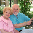 Golf Cart - Happy Seniors - Stock Photo