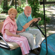 Golf Cart - Seniors - Stock Photo