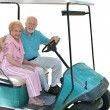 Golf Cart Seniors Isolated - Stock Photo