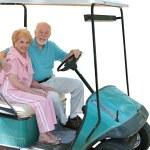 Golf Cart Seniors Isolated — Stock Photo