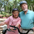 Safe Senior Bikers — Stock Photo