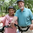 Senior Cycling Safety — Stock Photo