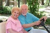 Golf Cart - Happy Seniors — Stock Photo