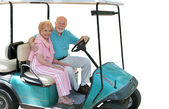 Golf Cart Seniors Isolated — Stock Photo