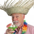 Senior Man Enjoys Margarita - Stock Photo