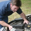 Stock Photo: Auto Mechanic Checks Engine