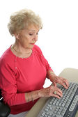 Senior Lady Learns Computer — Stock Photo