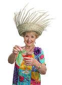 Senior Lady - Cruises & Cocktails — Stock Photo
