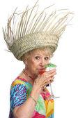 Senior Lady Sips Cocktail — Stock Photo