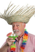 Senior Man Enjoys Margarita — Stock Photo