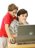 Brothers On Computer — Stock Photo