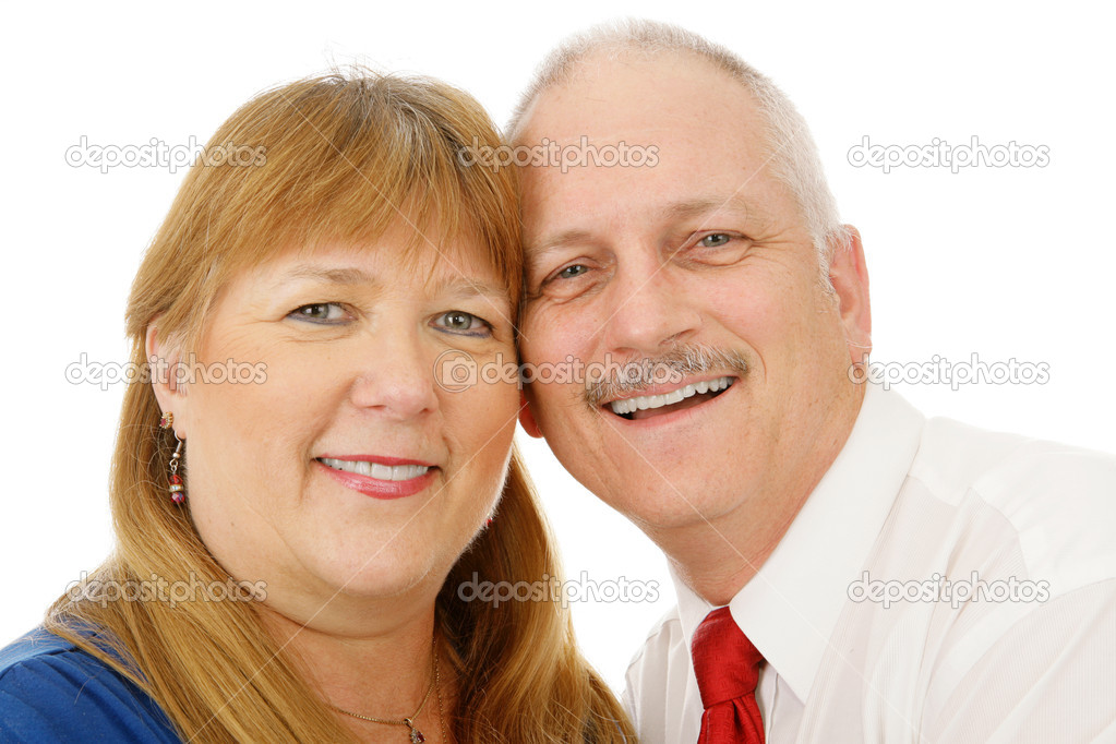 Beautiful mature couple in love.  Headshot over white background.   — Stock Photo #6648794