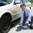 Flat Tire - Jack - Stock Photo