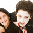Halloween Kids - Brothers Portrait — Stock Photo