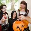 Stock Photo: Trick or Treaters at Door