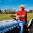 Farmer Mows the Field — Stock Photo