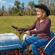 Mature Beauty Driving Tractor — Stock Photo