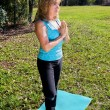 Mature Woman Yoga - Trees — ストック写真