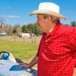 Rancher Surveys his Land — Foto Stock