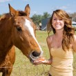 Teen Girl & Her Horse — Stock Photo #6652442
