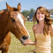 Teen Girl & Her Horse - Stock Photo