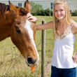 Stock Photo: Farm Girl & Horse