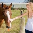Teen Girl With Horse — Stock Photo