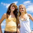 Teen Sisters Outdoors — Stock Photo