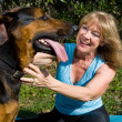 Woman Loves Her Dog — Stock Photo
