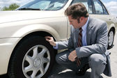 Flat Tire with Screw — Stock Photo