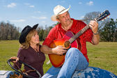 Cowboy cantando - serenata — Foto Stock