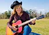 Singing Cowgirl — Stock Photo