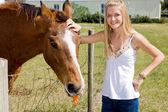 Farm Girl & Horse — ストック写真