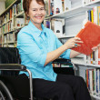 Librarian in Wheelchair — Stock Photo