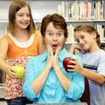 School Library - Popular Teacher — Stock Photo