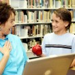 School Library - Teacher Surprise — Stock Photo