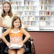 School Library - Two Girls — Stock Photo