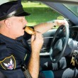 Police Snacking on the Job — Stock Photo