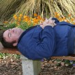 Asleep In The Garden - Foto Stock