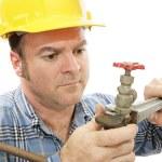 Construction Plumber Closeup — Stock Photo