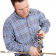 Plumber Repairs Pipe — Stock Photo