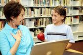 School Library - Teacher Surprise — Stock Photo