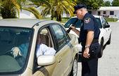 Polícia - pesquisando com lanterna — Fotografia Stock