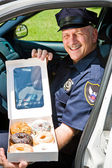 Police Officer - Box of Donuts — Stock Photo