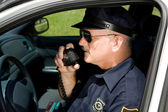 Police Officer on Radio — Stock Photo