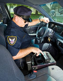 Police Officer With Siren — Stock Photo
